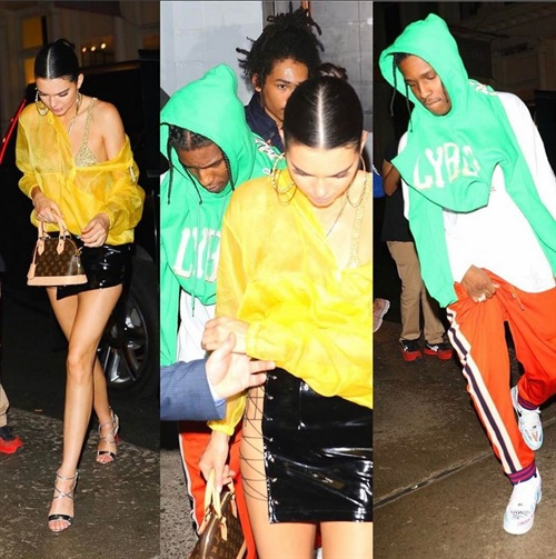 Kendall Jenner in Danielle Guizio skirt alongside ASAPRocky for the after party